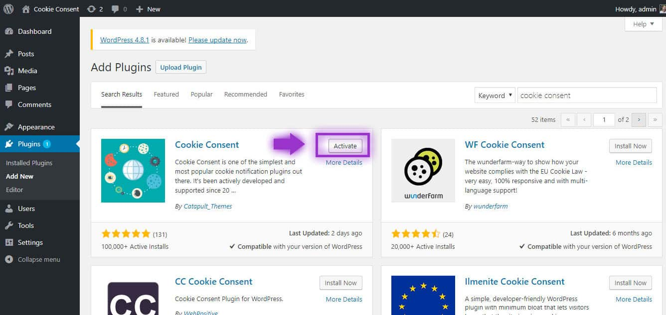 Activating Cookie Consent Plugin WordPress