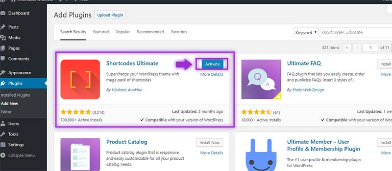 Activating Shortcodes Ultimate Plugin
