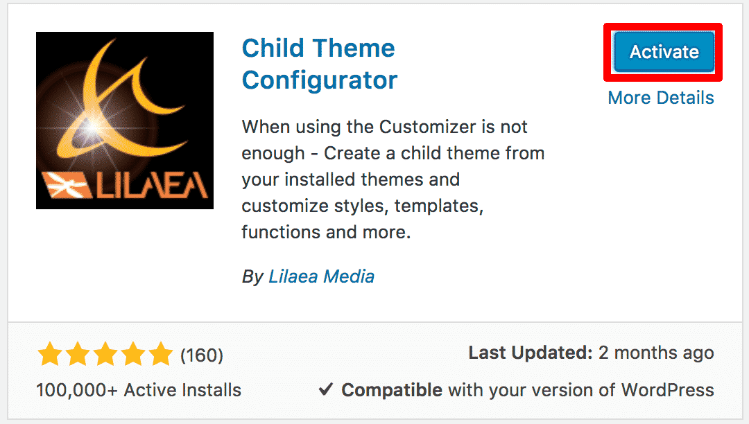 Activating child theme configurator plugin wordpress