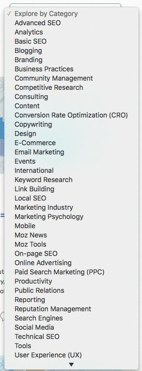 Categories Dropdown Example