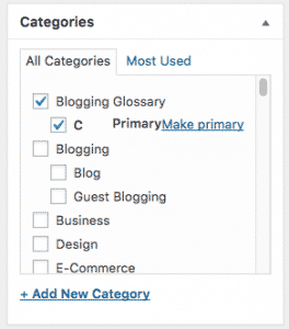 Selecting a category