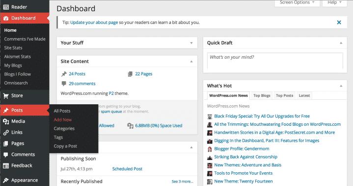 Blogging Dashboard (WordPress)