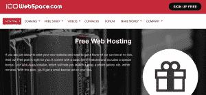 100 Web Space Free WordPress Hosting