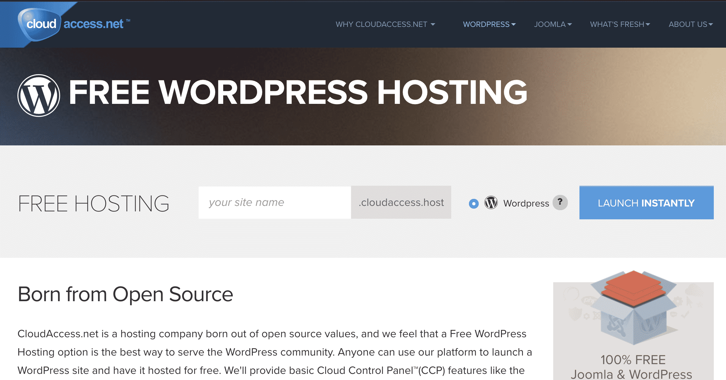 CloudAccess Free WordPress Hosting