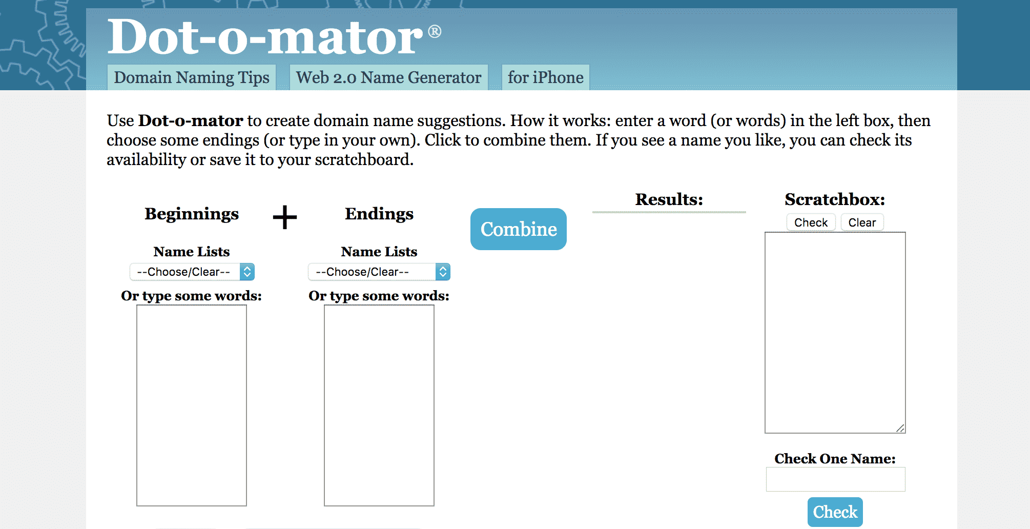 Dot-o-Mator Blog Name Generator Tool