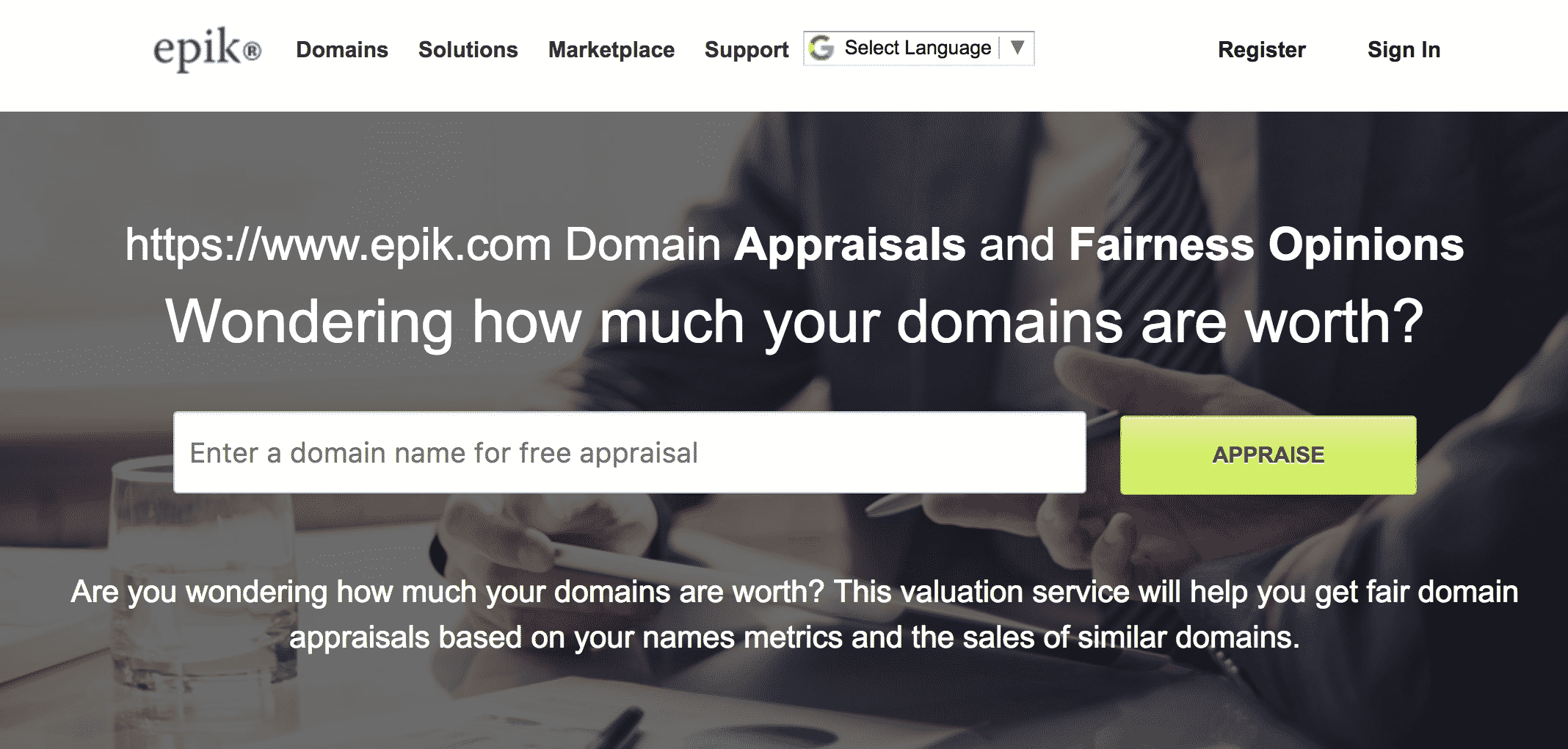 Epik Domain Valuation Service