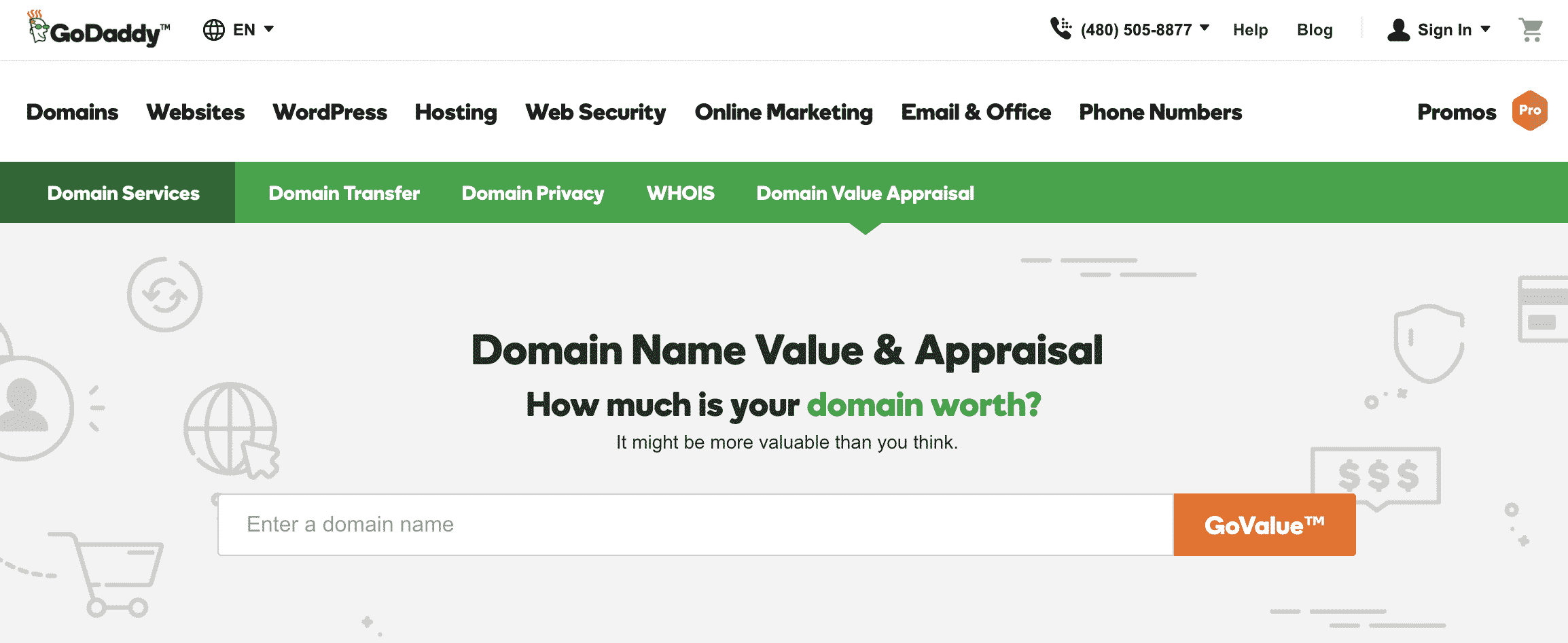 GoDaddy Domain Name Appraisal Tool