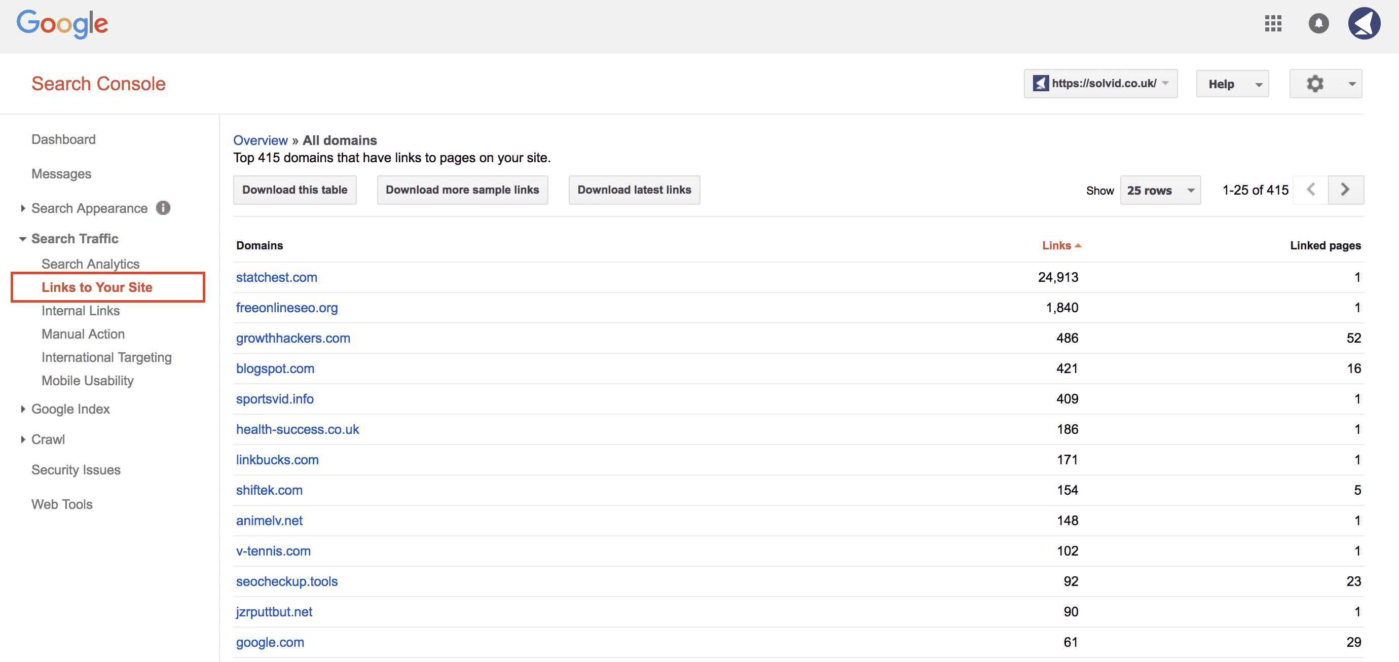 Google Search Console Backlink Checker