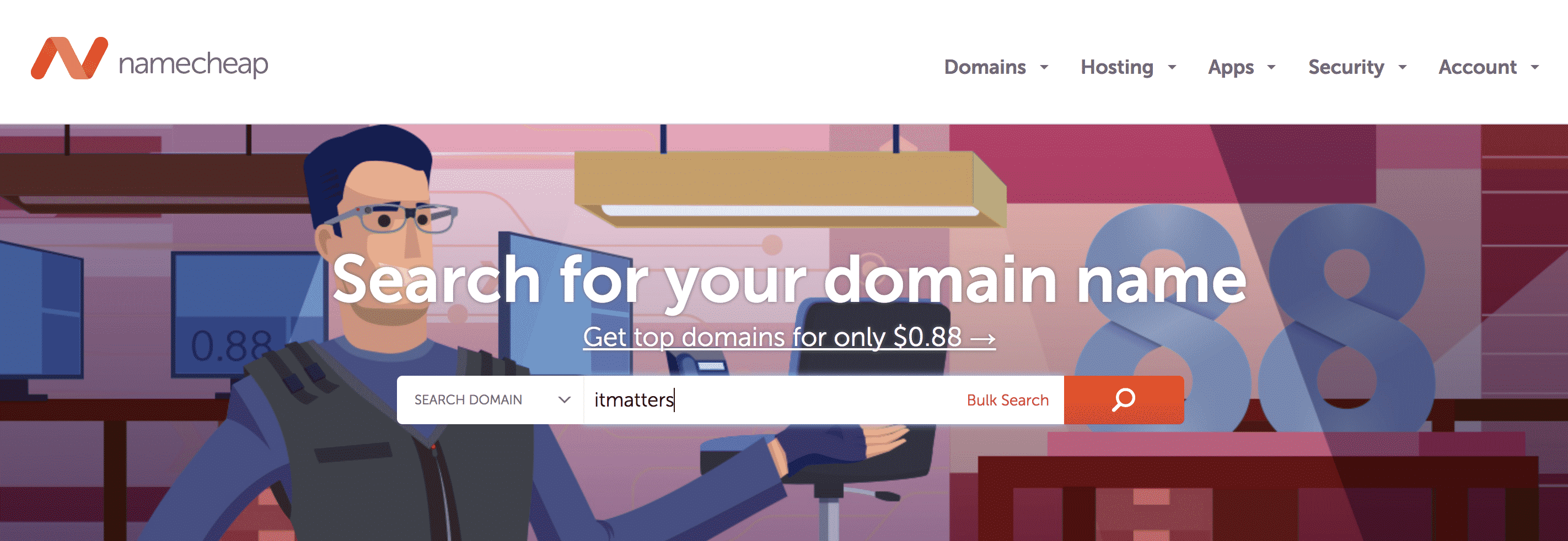 Registering a domain name with NameCheap