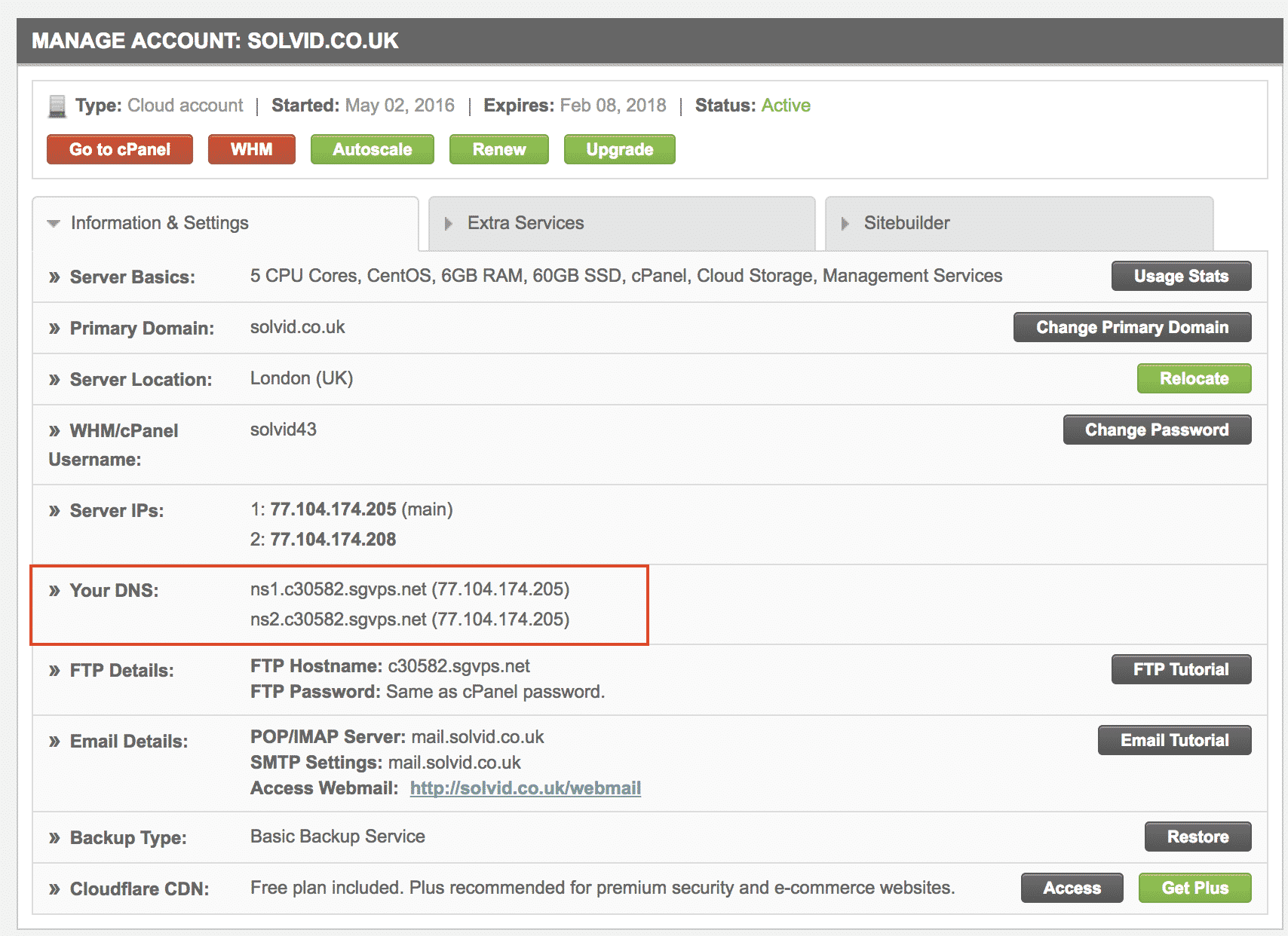 Siteground Nameservers