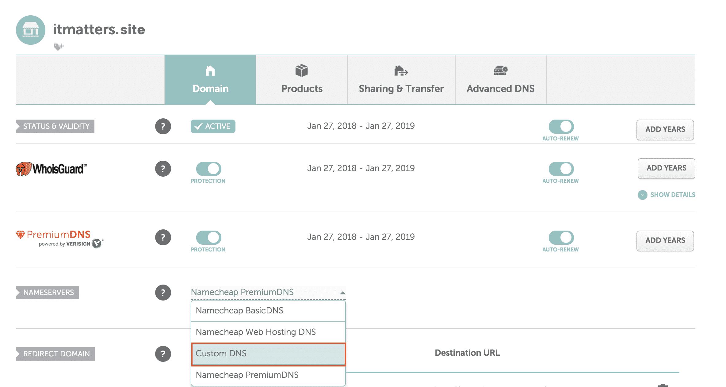 Changing nameservers in NameCheap