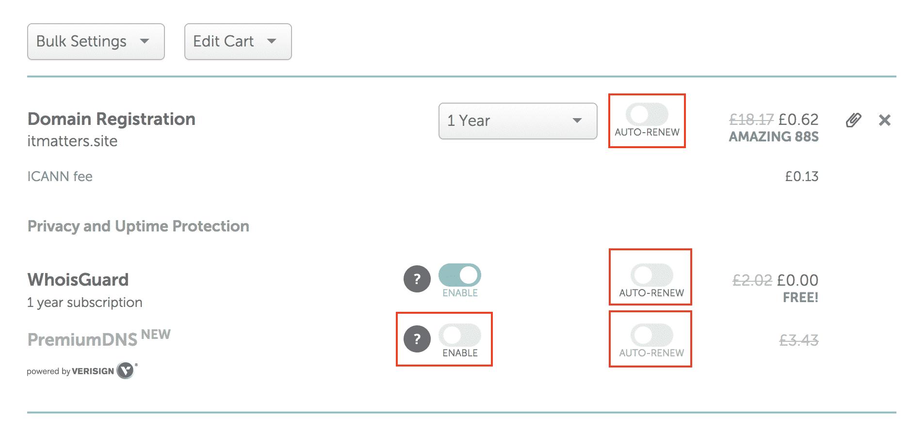 NameCheap Domain Name Options