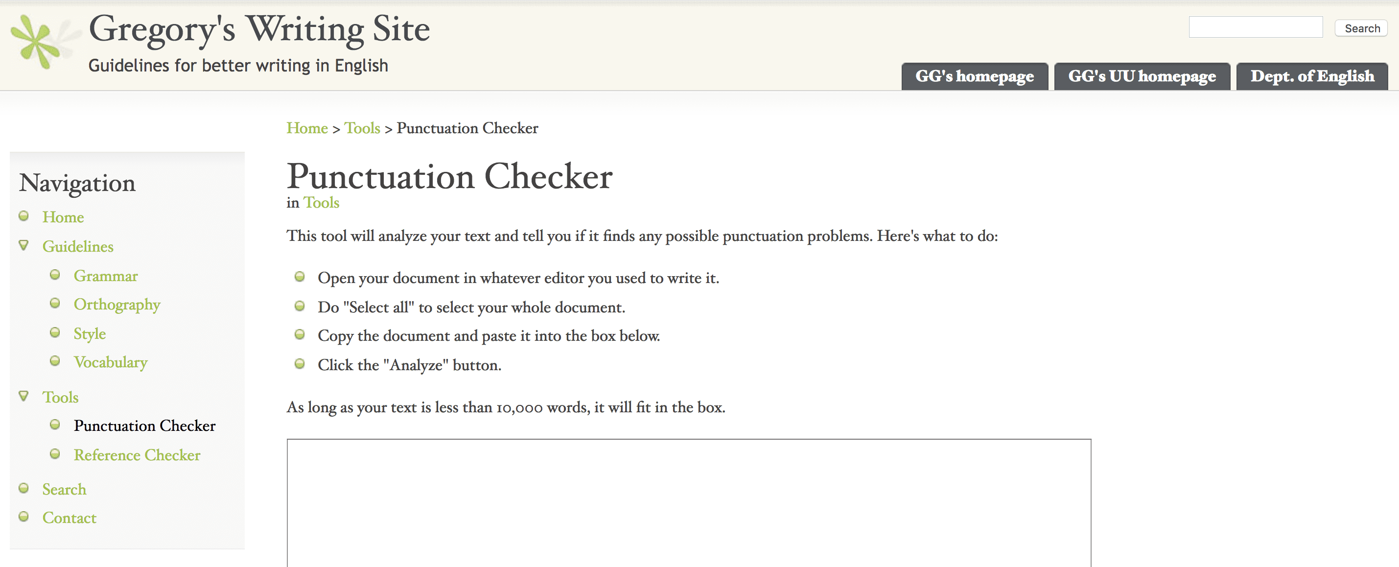 Gregory's Punctuation Checker