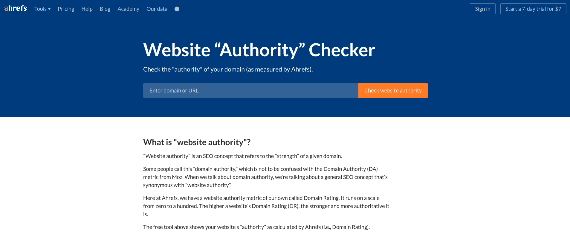 Ahrefs Website Authority