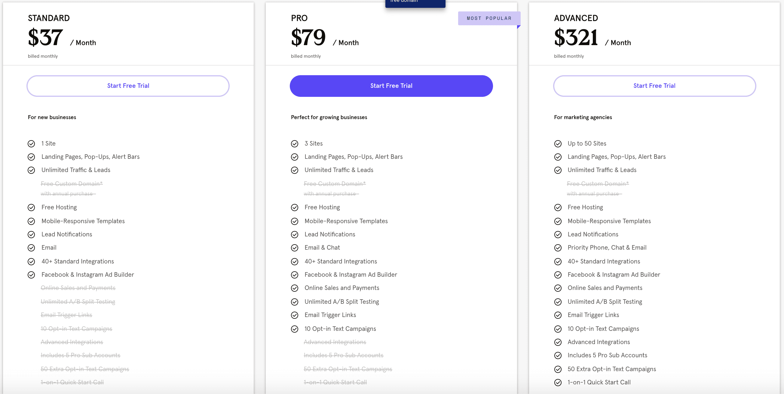 Pricing (Monthly)